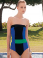 Swimwear Strapless in color block one piece