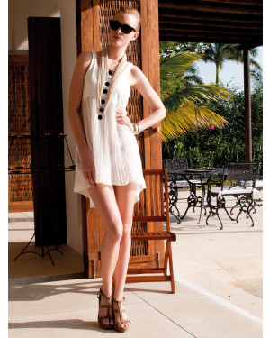 Pleated Short Wide Swim-dress in Ivory