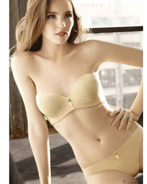 Strapless Structured Bra, Panty & Thong Set in Mocha